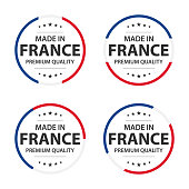 Set of four French icons, Made in France, premium quality stickers and symbols with stars, simple vector illustration isolated on white background