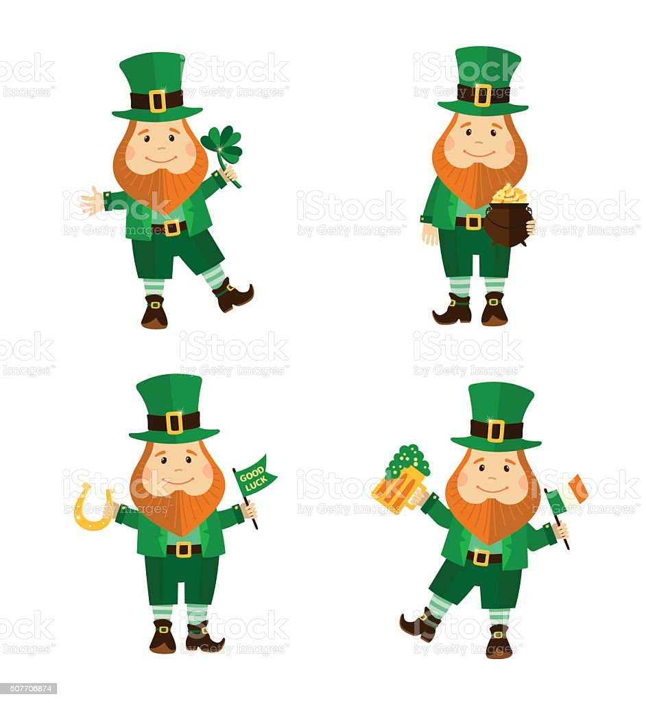Set of four funny leprechauns in different poses. vector art illustration
