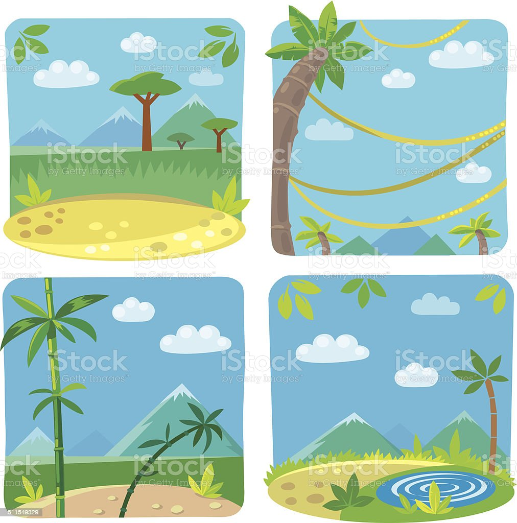 Set of four funny simple nature background. vector art illustration