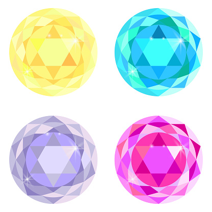 Set of four gems. Jewelry buttons. Round multi-colored crystals. Sapphire ruby diamond vector. Stock image. EPS 10.