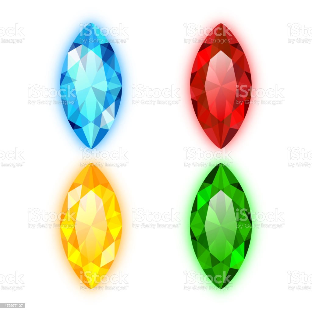 Set of Four Gems Marquise Shaped vector art illustration