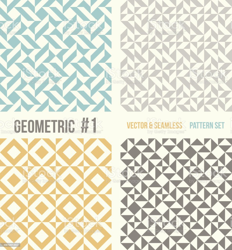 Set of four geometric patterns vector art illustration