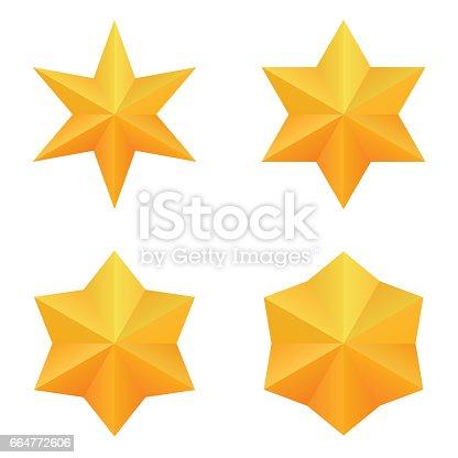 istock Set of four golden six point stars. 664772606