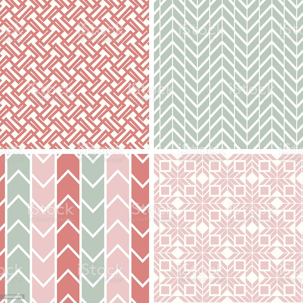 Set of four gray pink geometric patterns and backgrounds royalty-free stock vector art