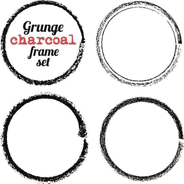 Satz von vier grunge Kreis frames-Holzkohle – Vektorgrafik