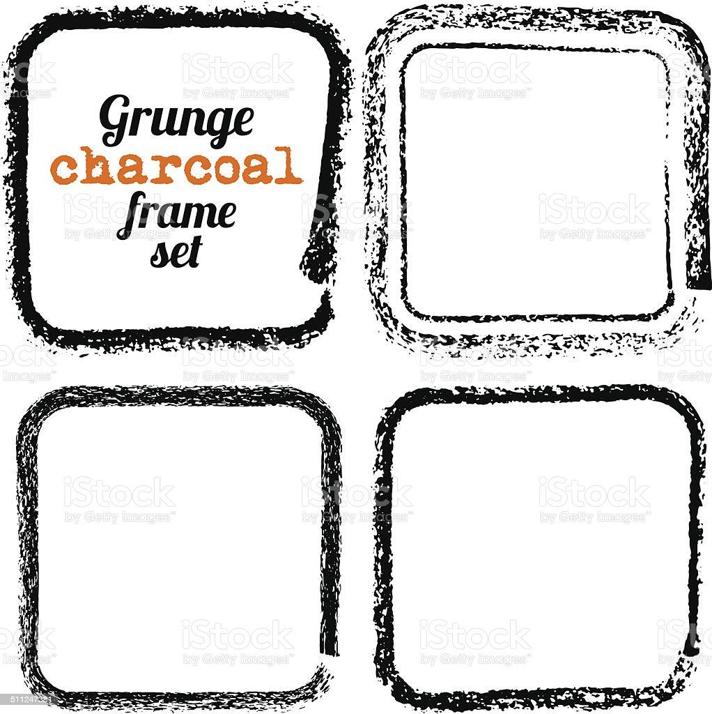 Ilustración de Conjunto De Cuatro Grunge Square Marcos Vector De ...