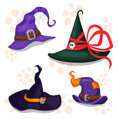 Set of four Halloween hats. Cartoon vector illustration. All elements are isolated. Great for prints, decor and web design.