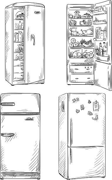 set of four hand drawn fridges. set of four hand drawn fridges. open fridge with healthy food. Vector illustration EPS 10. fridge stock illustrations