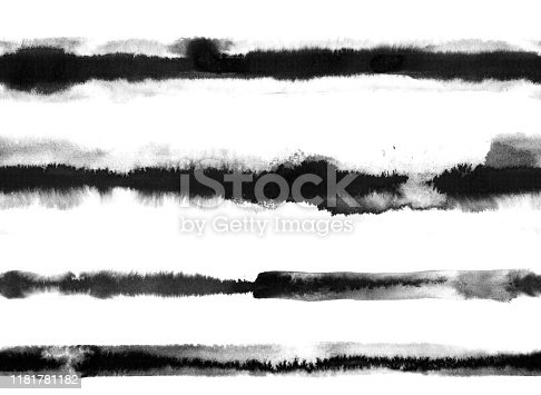Set of four hand painted watercolor horizontal lines in shades of black - abstract shapes -  illustration in vector with visible uneven rough and multilayered traces of diluted paint spilled over a white piece of paper