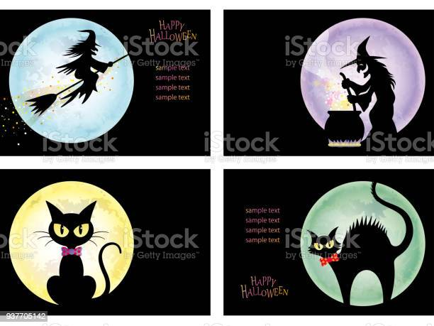 Set of four happy halloween card templates with witches and black vector id937705142?b=1&k=6&m=937705142&s=612x612&h=qx6ac8ajmu2ygnruz2vbbcfxxfd is ktuioozmfoc4=