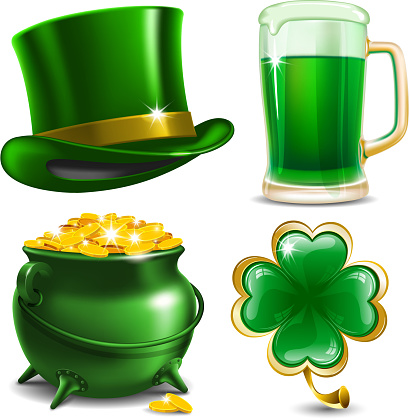 Set of four illustrations for St. Patrick's Day