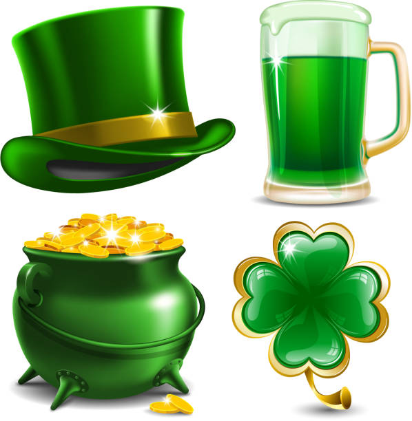set of four illustrations for st. patrick's day - st patricks day stock illustrations
