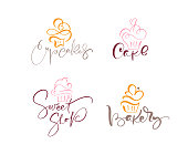 istock Set of four illustrations of cake vector calligraphic text with logo. Sweet cupcake with cream, vintage dessert emblem template design element. Candy bar birthday or wedding invitation 1199880007