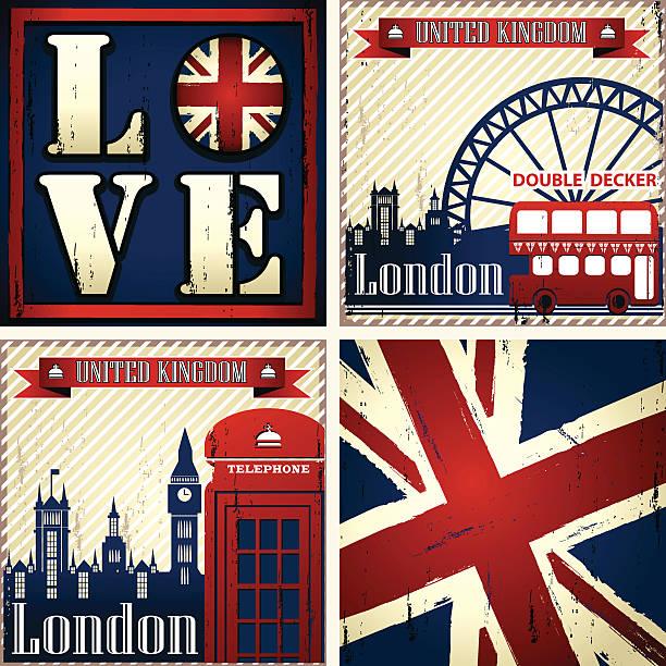 ilustraciones, imágenes clip art, dibujos animados e iconos de stock de uk & london conjunto de cuatro ilustraciones - bandera británica
