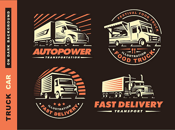 Set of four illustrations with truck and trailer vector art illustration