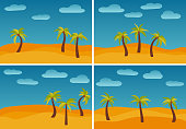 Set of four images with cartoon nature landscapes with three palms in the desert. Vector illustration.