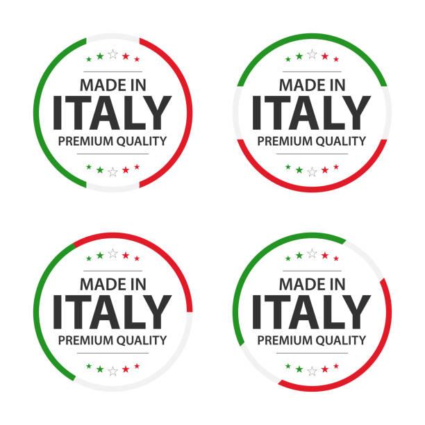 eine gruppe von vier italienischen ikonen, englischer titel made in italy, premium-qualität aufkleber und symbole, einfache vektor-illustration isoliert auf weißem hintergrund - italien stock-grafiken, -clipart, -cartoons und -symbole