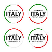 Set of four Italian icons, Made in Italy, premium quality stickers and symbols, simple vector illustration isolated on white background
