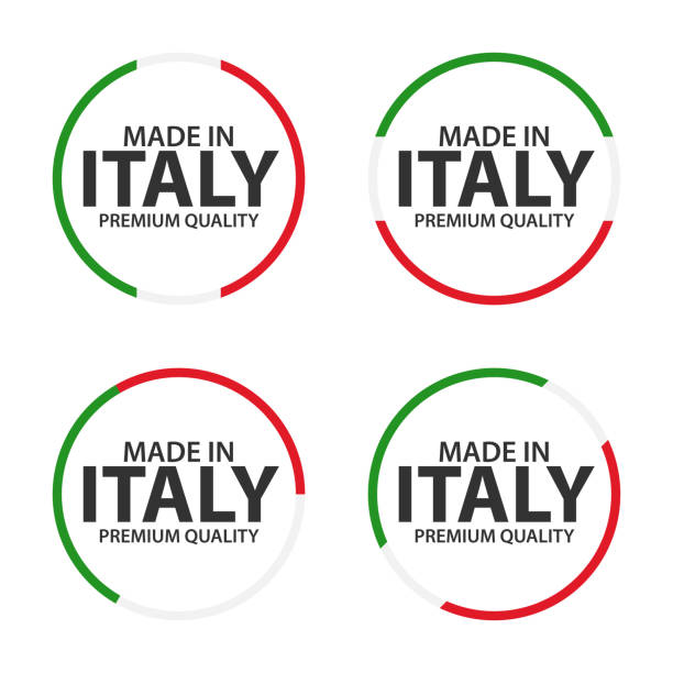 set of four italian icons, made in italy, premium quality stickers and symbols, simple vector illustration isolated on white background - wykonać stock illustrations