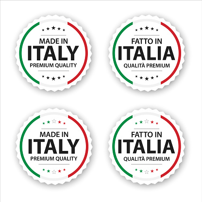 Set of four Italian labels. Made in Italy In Italian Fatto in Italia. Premium quality stickers and symbols with stars. Simple vector illustration isolated on white background