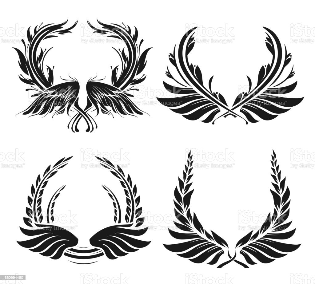 Set of four laurel wreath and wing silhouettes