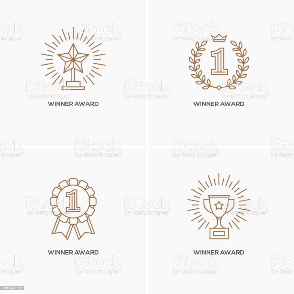Set of four linear winner awards. vector art illustration