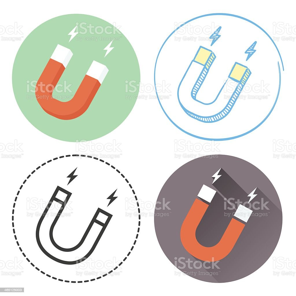 Set of four magnet icons in different colors vector art illustration