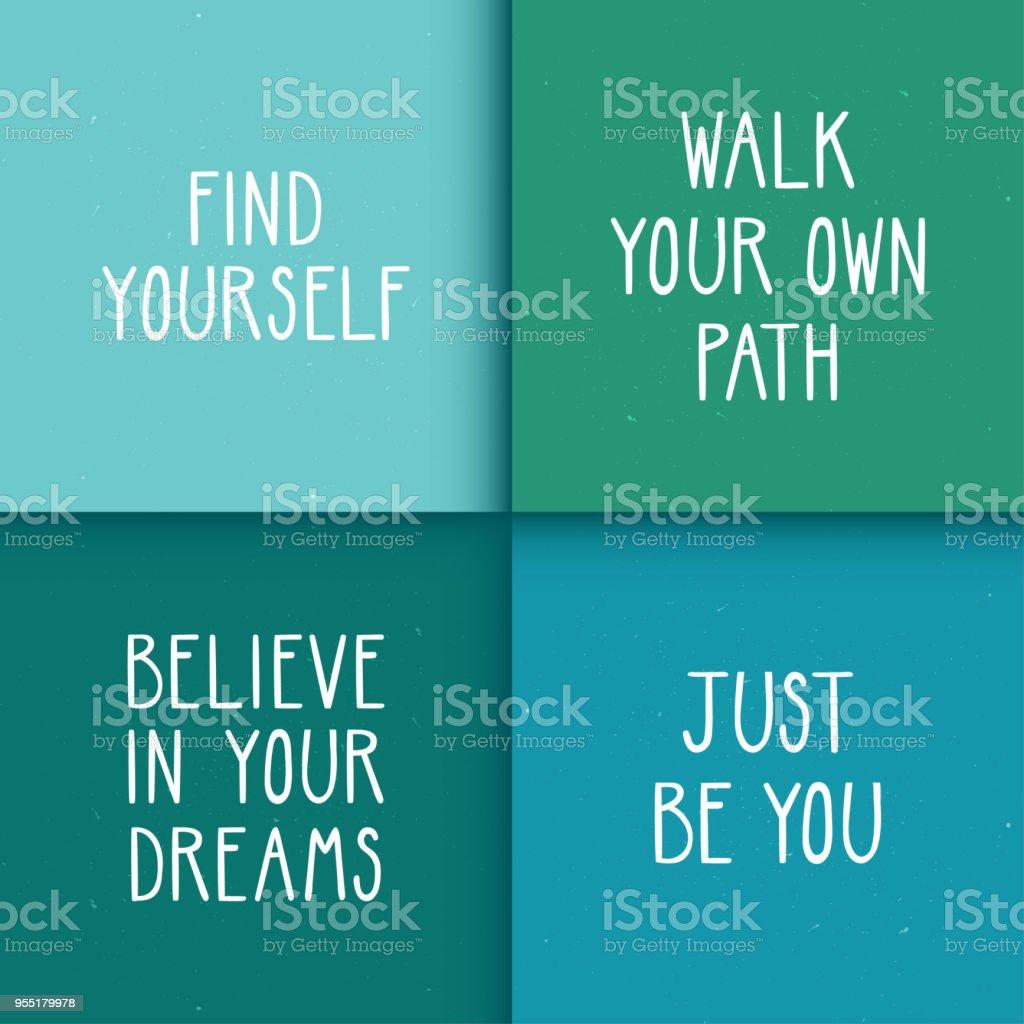 Satz Von Vier Motivationsposter Mit Optimistischen Zitate