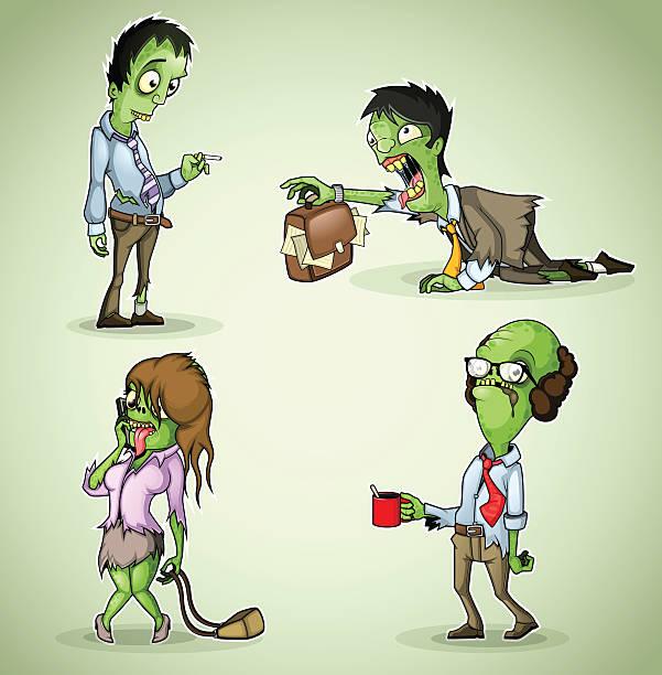 bildbanksillustrationer, clip art samt tecknat material och ikoner med set of four office zombie - coffe with death