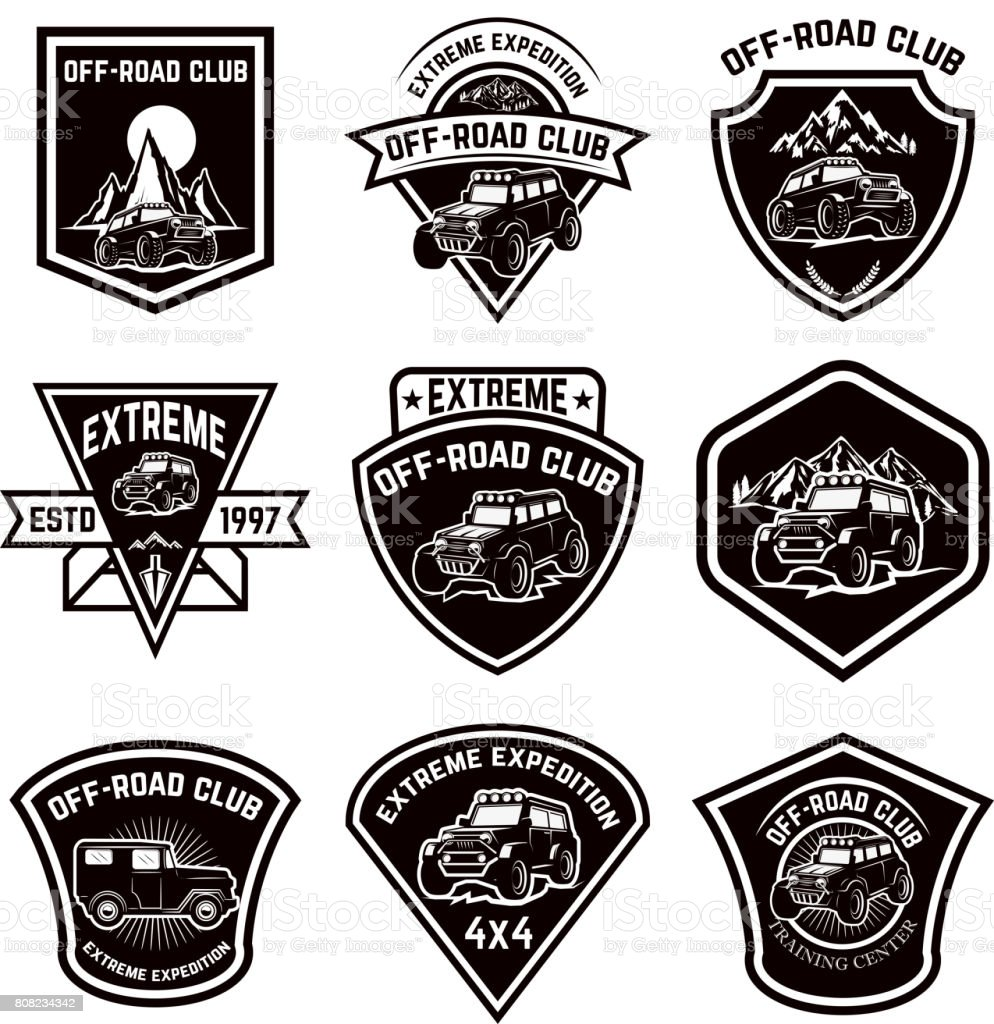 Set of four off-road suv car emblems. Extreme adventure club. Vector illustration vector art illustration