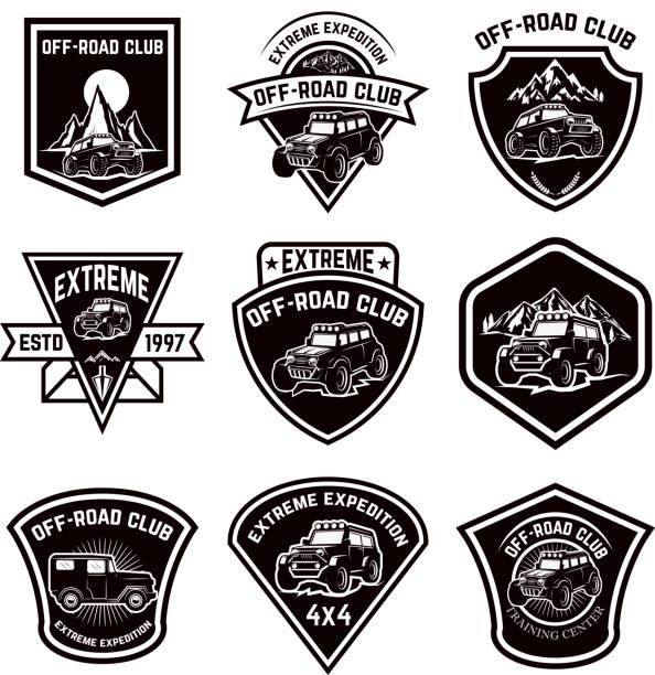 Set of four off-road suv car emblems. Extreme adventure club. Vector illustration vector art illustration