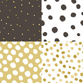 Set of four paint texture background. White, black and golden glow. Vector seamless patterns