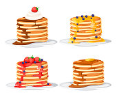 Set of four pancakes with different toppings. Pancakes on white plate. Baking with syrup or honey. Breakfast concept. Flat vector illustration isolated on white background.