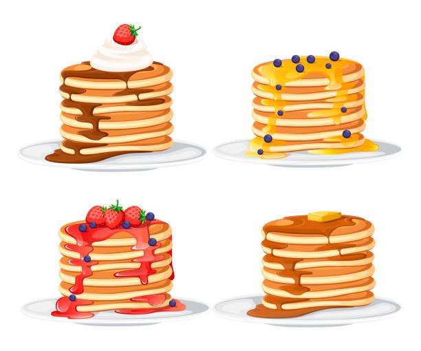 トッピングが異なる4つのパンケーキセット。白い皿の上のパンケーキ。シロップまたは蜂蜜で焼く。朝食のコンセプト。白い背景に分離された平面ベクトル図 - パンケーキ点のイラスト素材/クリップアート素材/マンガ素材/アイコン素材