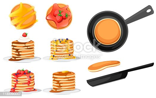 Set of four pancakes with different toppings. Pancakes on white plate. Baking with syrup or honey. Breakfast concept. Fluffy pancake in frying pan. Flat vector illustration on white background.