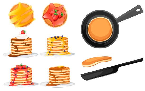 トッピングが異なる4つのパンケーキセット。白い皿の上のパンケーキ。シロップまたは蜂蜜で焼く。朝食のコンセプト。フライパンにふわふわのパンケーキ。白い背景の上に平らなベクトル - パンケーキ点のイラスト素材/クリップアート素材/マンガ素材/アイコン素材