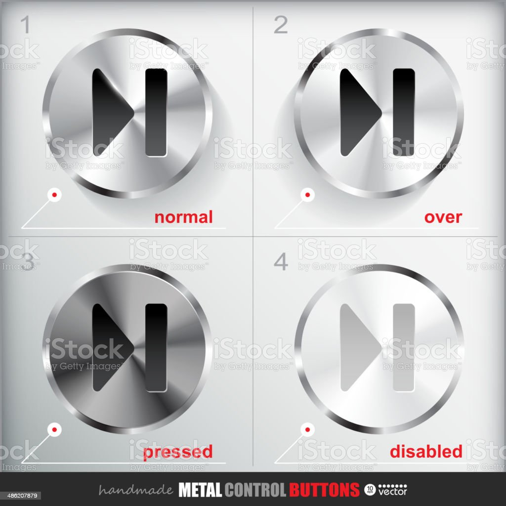 Set of four positions of Circle Metal Skip  End Button. royalty-free stock vector art