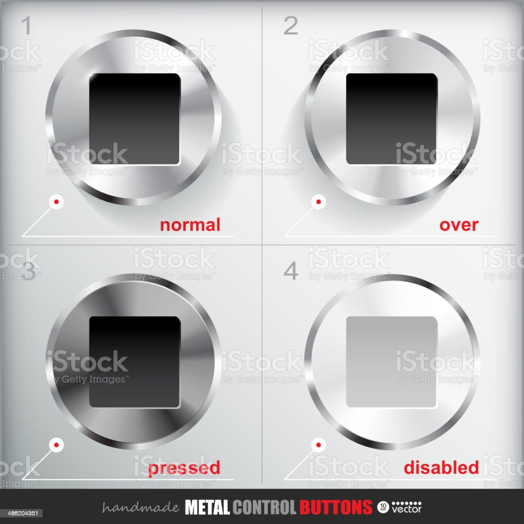 Set of four positions of Circle Metal Stop Button royalty-free set of four positions of circle metal stop button stock vector art & more images of activity