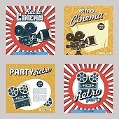 Set of four posters. Vector illustration. Retro cinema. Retro party. Depicts a vintage film camera and reel to reel tape recorder.