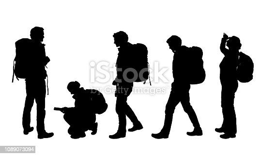 Set of four realistic silhouettes of male and female tourists with map and backpack - vector