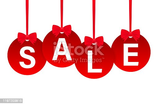 istock Set Of Four Red Rounded Hangtags Sale. Vector stock illustration. 1197203815