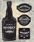 Set of four retro Bourbon Whisky labels and bottle