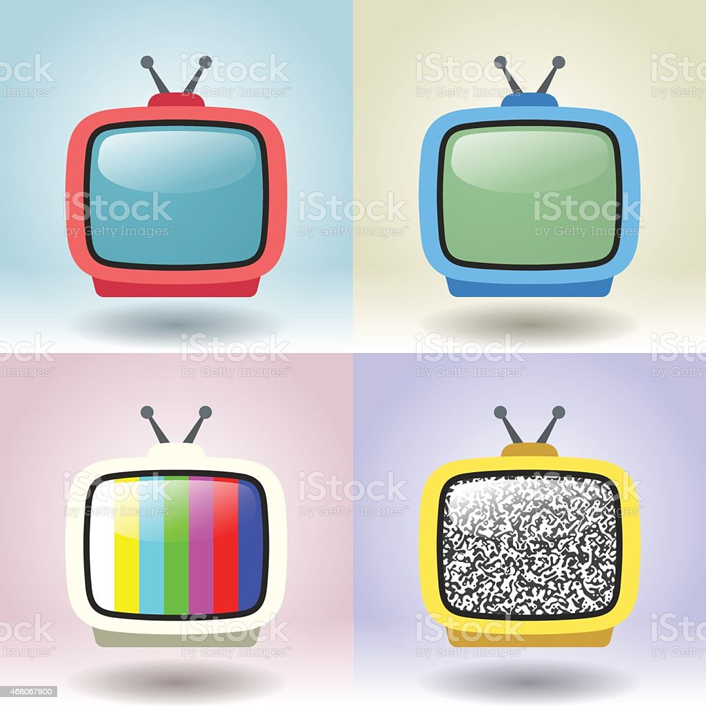 06 Set Of Four Retro Television vector art illustration