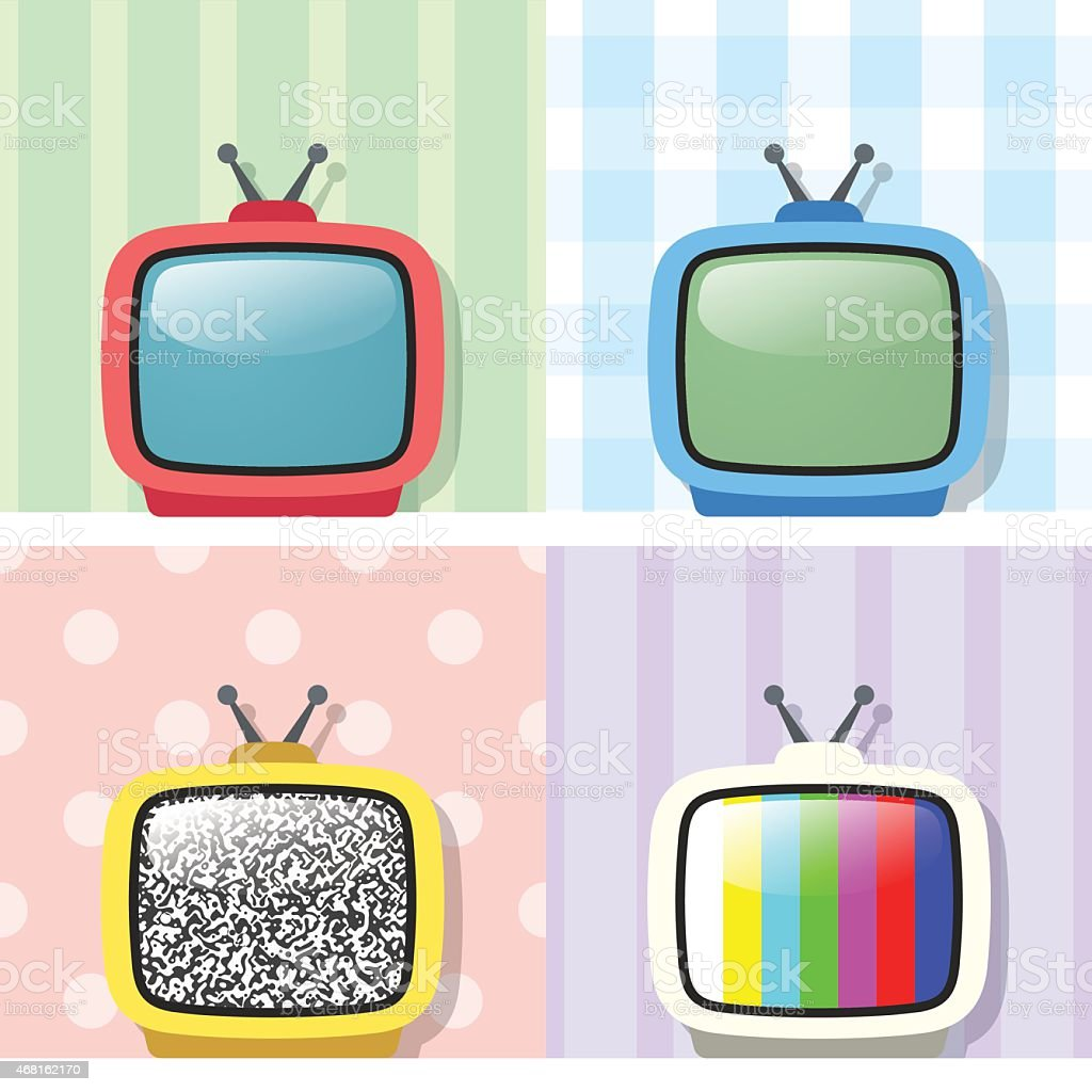 Set Of Four Retro TV vector art illustration