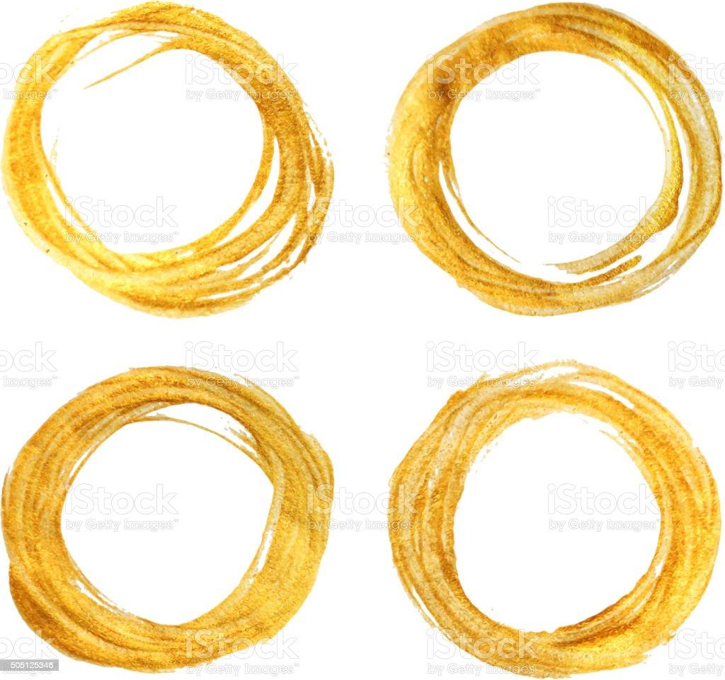 Set of four round gold textured frames. vector art illustration