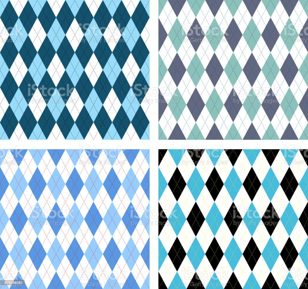 Set of four seamless argyle check patterns in nautical palettes of blue and white. vector art illustration