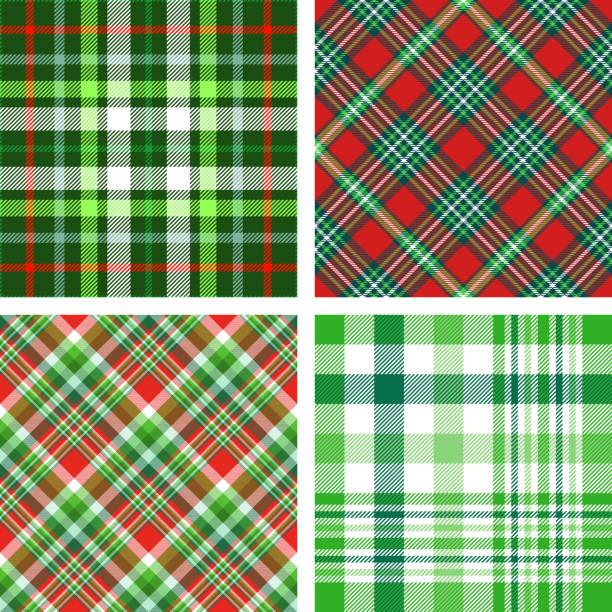 ilustraciones, imágenes clip art, dibujos animados e iconos de stock de conjunto de cuatro patrones cuadros de navidad perfecta paleta de verdes, rojos y blancos. - fondos de franela