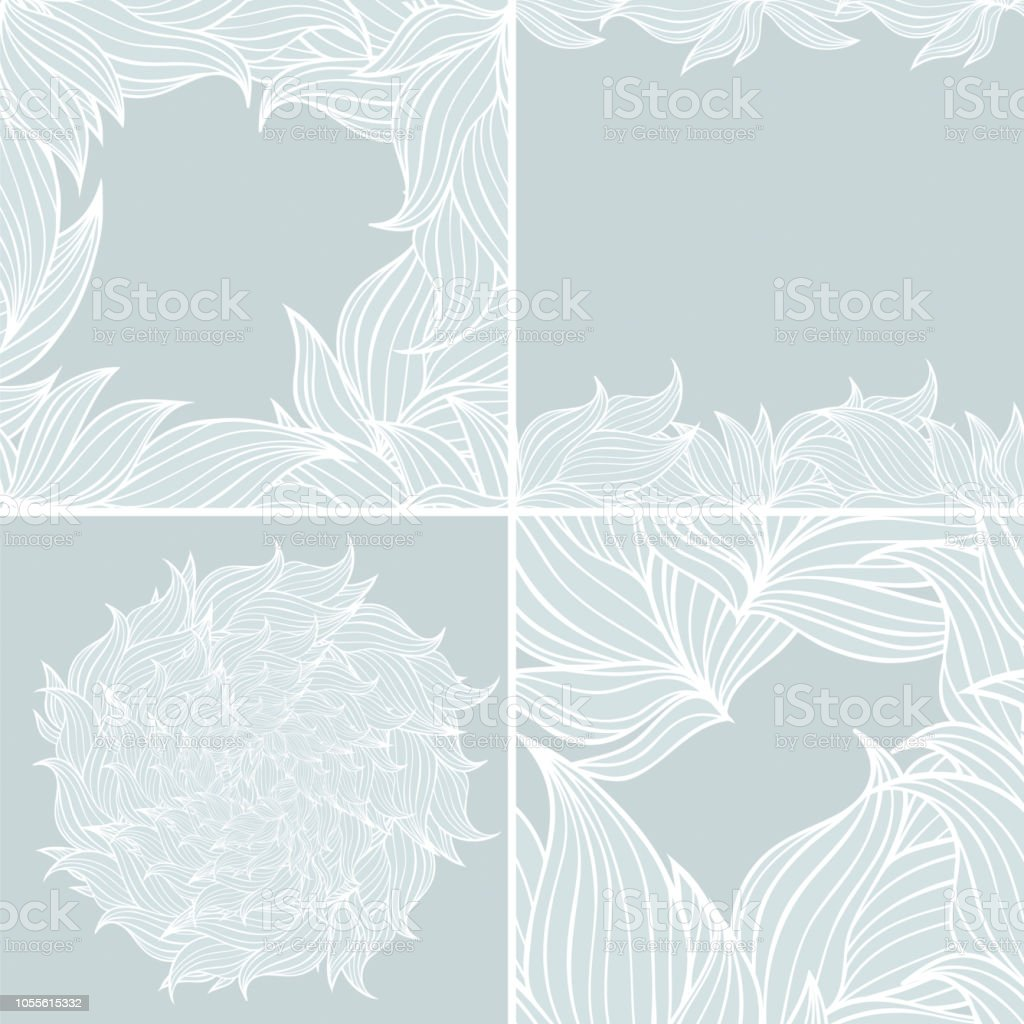 Set Of Four Seamless Floral Background Patterns Of Neutral Colors