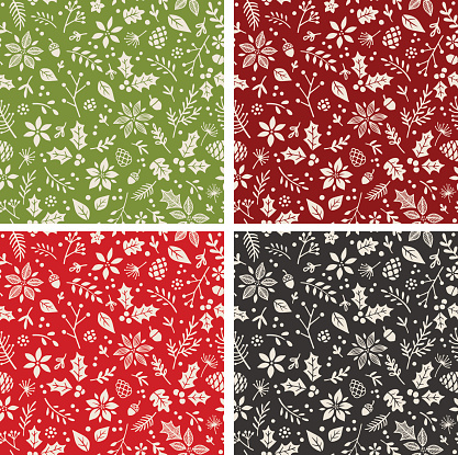Set of Four Seamless Holiday Patterns
