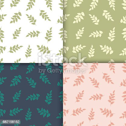 istock Set of Four Seamless Pattern With Leaf. 682158152